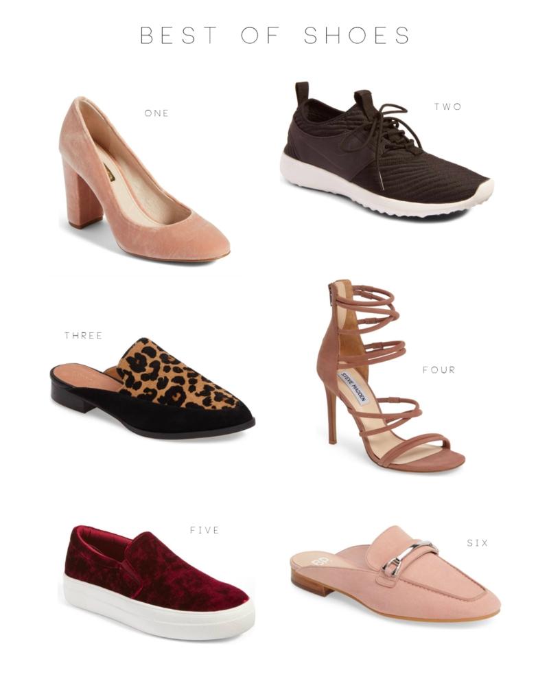 Nike sneakers, 3. Halogen slides, 4. Steve Madden heels, 5. Steve Madden  sneakers, 6.BP loafers